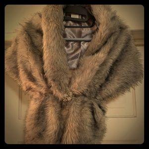 Faux Fur Cape with Rhinestone Broach Closure